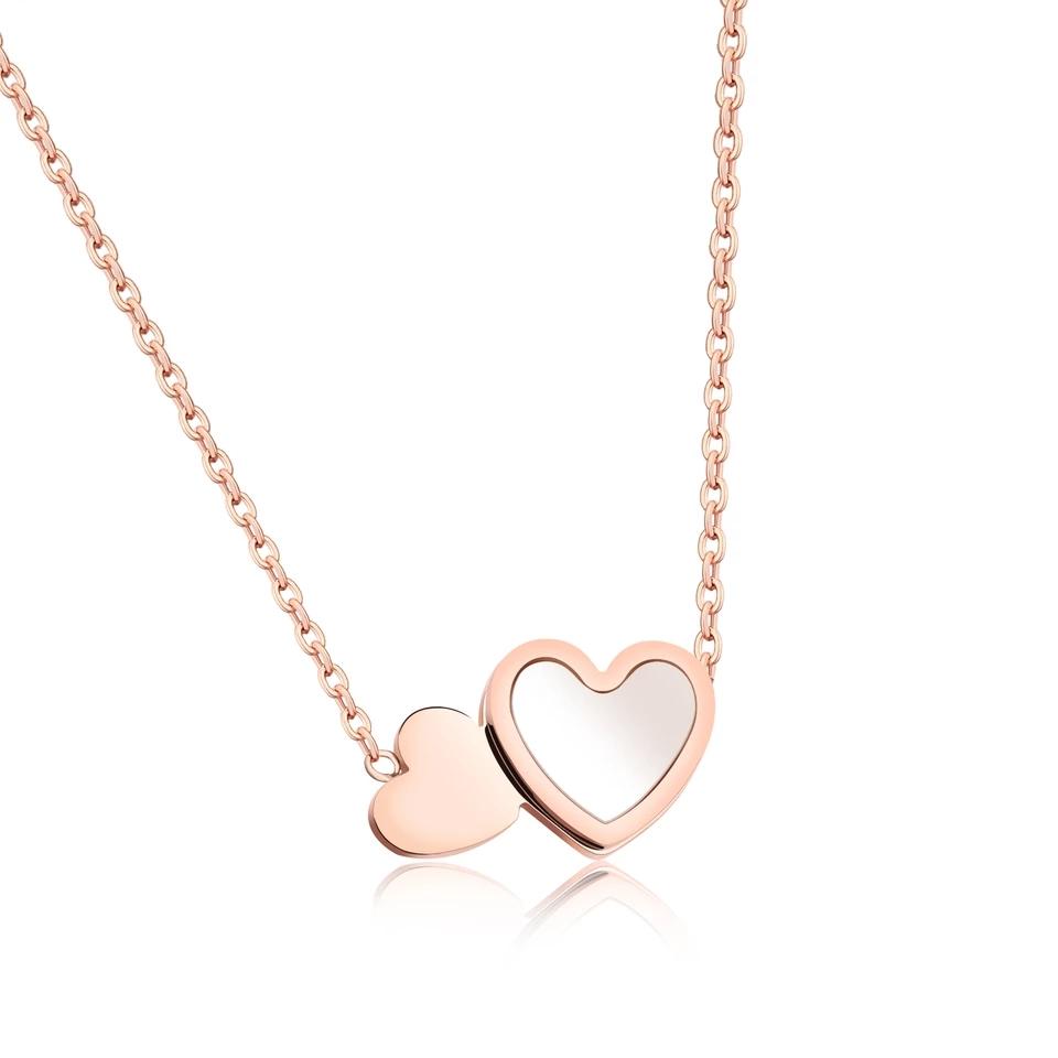 Ατσάλινο Κολιέ Καρδιές - Ροζ Χρυσό - Sevismakeup e5e4e3576e7